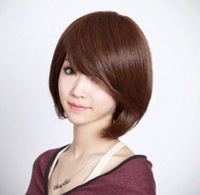 FreeShipping!Wholesale Lady's Black Brown Straight Brazilian Virgin Full Lace Wig Synthetic Hair Cosplay Short Wigs For Women