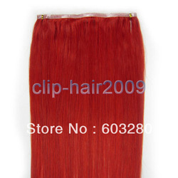 20&quot; (50cm) hand-made PU skin weft remy human hair 36inch-92cm width 55gram RED colour(China (Mainland))