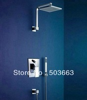 "8"" Rainfall Shower head+ Arm + Control Valve+Hand Spray Shower Faucet Set CM0572"