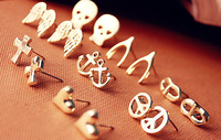 Free shipping wholesale 2012 new Fashion Skull Cross Heart Wings Earring for women alloy Stud Earrings jewelry 0161