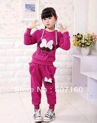 Free Shipping Baby Casual Set for Autumn/Winter Female Children's Clothing Child Girls Sports Clothes Set for 3-7 years old Xmas(China (Mainland))