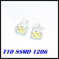 Wholesale 100pcs/lot T10 194 168 192 W5w 1206 8led  Smd Super Bright Auto Led Car Lighting/t10 Wedge Lamp