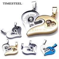 TSN077099/100 Titanium 316L Stainless Steel Couple's Heart Necklace Puzzle Pandent Necklaces