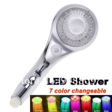 9 LED Temperature Control 7 Color Multicolor Light Changeable Noiseless Shower with Switch Free Shipping HL0286(China (Mainland))