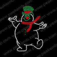 Free Shipping 30pcs/Lot Cute Snowman Christmas Design Motif  Cheap Rhinestone Transfers Custom Rhinestone Design Available