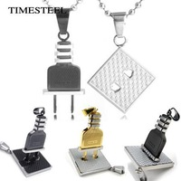 TSN076238-29 Fashion Stainless Steel Couple Socket&Plug Necklace Jewelry Puzzle Pandent Necklaces