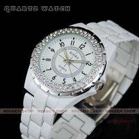 MINGEN SHOP - Luxury Charming Ceramic White Crystal women watch Q1057