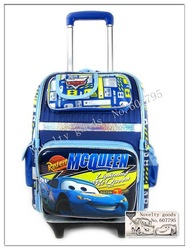 Pixar Cars 2 backpack draw bar Children wheeled travelling bags Children Trolley Bags kids High quality school bag/travel(China (Mainland))