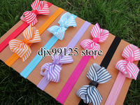 50pcs/lot baby Elastic Headbands with 3.3&quot;-3.5&quot; baby stripe ribbon bows  grosgrain headbands baby hair accessories