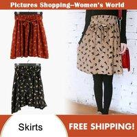 2014 autumn women fashion cat pattern print color block chiffon casual skirts with belt mini skirt A026