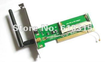 1PC  WLAN Wireless WIFI Card mini pci to adapter+Antenna