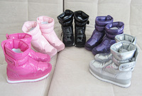 Top Sales 2013 New Snow Boots Kids Warm Waterproof Snowboots Pu Winter Boots For Children Red Pink And Purple Boots
