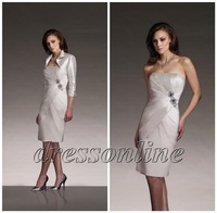 Noble Silver Inexpensive Knee Length Short Satin Mother of the Bride Groom Dress With 3/4 Sleeves Jacket