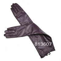 Size L  Womens Long Black/Purple Opera  Leather Gloves Winter Gloves 50cm
