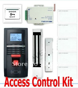 Lowest Cost A Complete Fingerprint And ID Card Reader Access Control System Kit With Magnetic Door Lock DIY Access controller