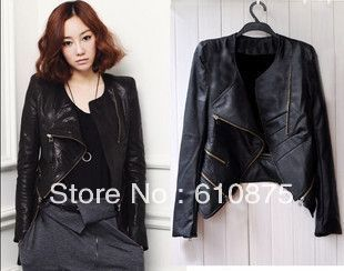 hot sale High quality summer women's short design slim motorcycle jacket PU clothing leather jacket coat,R93