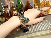 SALE 2014 New arrive Fashion jewelry Bracelet Peacock Feathers Tassels Vintage Peach Heart Key beads Bracelet