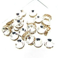 9mm100 Mixed SP Rhinestone Rondelle Spacers Beads fashion jewelry fittings Diy Free shipping HA799