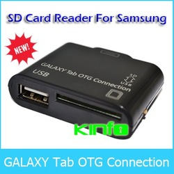 Free shipping !!! One year warranty / wholesale / 2 in 1 SD USB Card Reader Connection for Samsung Galaxy Tab(China (Mainland))