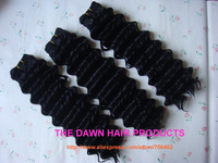 3Pieces/lot Blended (50% Human Hair&50% Heat Resistant Fiber) Deep Curl Hair Weave Color 1# Length 18""
