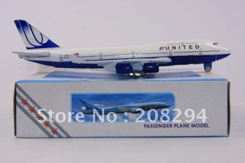 Free Shipping,10pcs/lot United States United Airlines B747-400,metal airplane models,airplane model, airbus prototype machine
