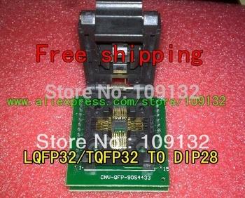 Free shipping CHIP PROGRAMMER SOCKET TQFP32 QFP32/ LQFP32 TO DIP28 adapter socket support ATMEGA8 series