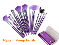 Hot Selling 16 PCS Professional Makeup Bruhes Cosmetic Brush Nylon Hair Make UP set Kit With Purple Case Free Shipping