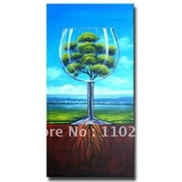 FREE POSTAGE! Framed! 100% Handmade Wine Glass Oil Painting, Modern Painting, Still-life Oil Painting For Decoration