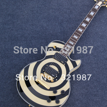 HOT SELL Guitar Zakk Wylde Bullseye black+yellow style Electric Guitar +freeshopping