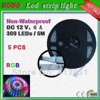 60 Leds/m Led Strip 5050 RGB Non Waterproof 300 Leds 5M /Roll Led Ribbon Flex Strip Cinta De Led For Car
