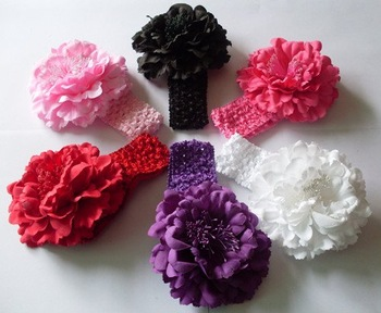 10pcs/lot Big Penoy Flowers Baby Girl Hair Baby Hairbows,Children Head Accessories,Crochet Headbands