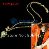 Free Shipping 10pcs/Lot New Fashion Cute Binocle Charm Chain Globe Necklace Pendant