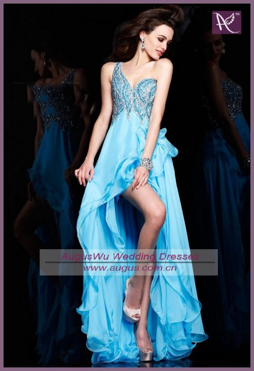 APB0420 2013 Sexy Backless Full Beaded Corset Blue Chiffon Short Front Long Back Prom Dress(China (Mainland))