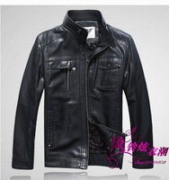 Free shipping hot sale 2014 Leather men's leather sheep skin stand-up collar leather jacket mink suede leather coat
