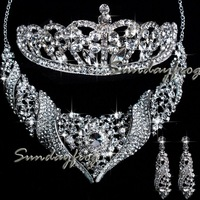 New Arrival Free Shipping Gorgeous Alloy with Clear Crystal Rhinestones Wedding Bridal Jewelry Set Necklace Earrings Tiara -JVA4