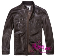 Free shipping New 2014 Men 's sheepskin leather fur coat standing collar short paragraph leather jacket leather coat, M-3XL