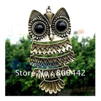 New Women Vintage Copper Lovely Gold Owl Lampwork Pendant Necklace 459