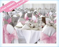 100PCS Organza Chair Sashes Bow Wedding Cover Banquet light pink