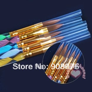 2-Ways Sable Acrylic Nail Art Brushes Pen Nail Brush Cuticle Pusher 5PCS/SET Free shipping Best selling(China (Mainland))