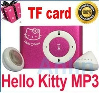 Global Free Shipping NEW Mini Hello Kitty Clip MP3 Player For 2G 4G 8G Micro SD(TF) card + 8 Colors