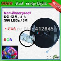 Free shipping non-waterproof SMD 3528 RGB camping strip led light_60pcs/m strip light
