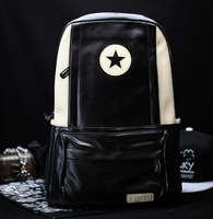 Japanese Style New Arrival Man's Backpack Five-pointed Star Black Outdoor Travel Shoulder Sport Bag With Quality PU Material