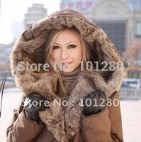 2014 new winter women's high quality medium-long design down jacket large size brand fur coat outwear  T174