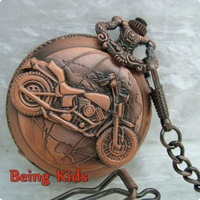 Free Shipping Mens Motorcycle Cool Jewel Rare Vintage Red Pocket Watch Special Design+Chain