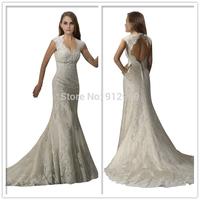 Fashion Lace Wedding Dress Cap Sleeves Bridal Gown