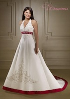 Vintage Red and White Wedding Dress Halter Empire Waist  Embroidery Bride Gown