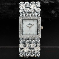 MINGEN SHOP - Stylish Silver Tone Bling Crystal ladies Party Dinner Bracelet Bangle Dress Watch+Box Q0257-P