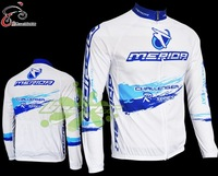 Free Shipping Brand New Merida Blue + White Team cycling Long Sleeves Jersey + Trousers sets