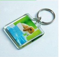 "Free Shipping 100pcs Blank Acrylic Rectangle Keychains Insert Photo Keyrings (Key ring chain)1.57""x 1.57""1(4cm*4cm)"