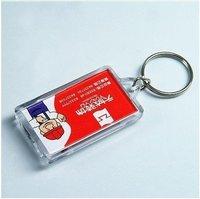 "Free Shipping 100pcs Blank Acrylic Rectangle Keychains Insert Photo plastic Keyrings 2.25""x 1.65"""